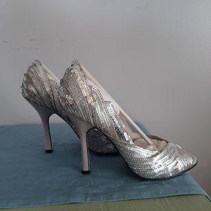 JLo Silver Sequin Heels NWT
